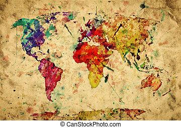 style, vieux, coloré, vendange, paper., map., grunge, retro, peinture, aquarelle, mondiale, expression