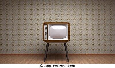 style, vieux, tv, room., retro, colors.