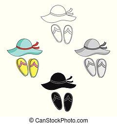 style, volte-face, plage, stockage, symbole, dessin animé, noir, isolé, vacances, icône, chapeau, vecteur, famille, arrière-plan., illustration., blanc