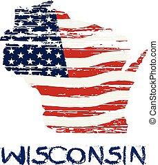 style, wisconsin, map., drapeau, américain, vecteur, grunge