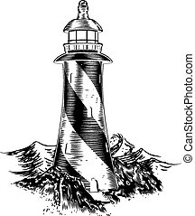 style, woodblock, phare