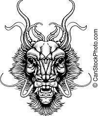 style, woodblock, tête, dragon