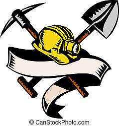 style, woodcut, mineur, isolé, illustration, rouleau, charbon, fait, retro, pioche, hardhat, chapeau blanc, ou, bêche