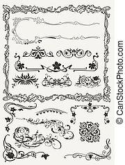 styles, décoratif, éléments, collection, ancien, conception, frontières