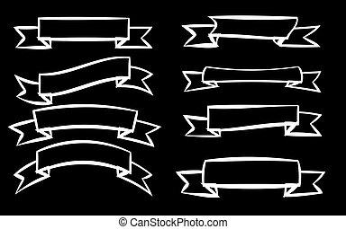 styles, différent, ensemble, illustration., étiquettes, arrière-plan., vecteur, huit, signage, noir, blanc, rubans