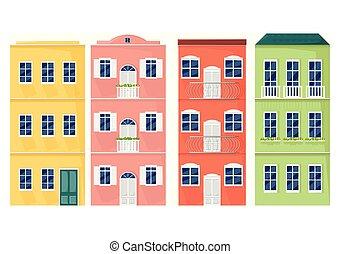 styles, italie, coloré, façades, architecture, vector., cityscape, dessin animé