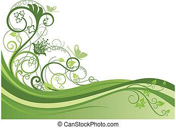 stylique floral, 1, frontière, vert