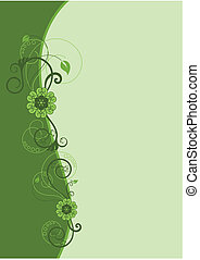 stylique floral, 2, frontière, vert