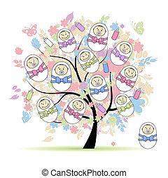 stylique floral, arbre, ton, nouveaux-nés