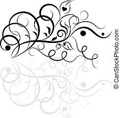 stylique floral, blanc, noir, element.