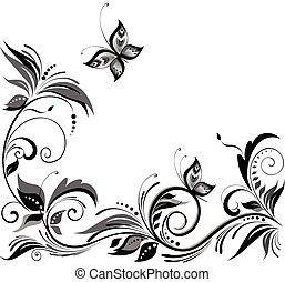 stylique floral, blanc, noir