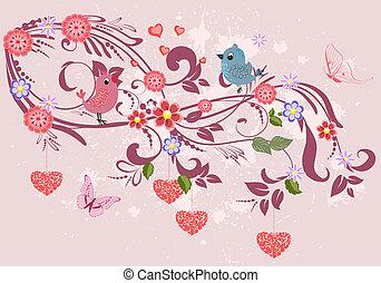 stylique floral, ornement, ton, cœurs