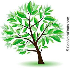 stylisé, arbre vert, leaves.