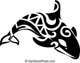 stylisé, baleine, tueur
