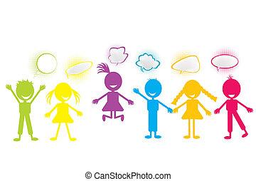 stylisé, bulles, coloré, bavarder, enfants