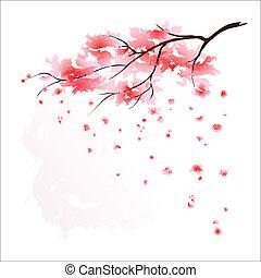 stylisé, cerisier, japonaise
