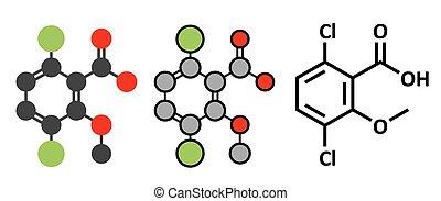 stylisé, conventionnel, utilisé, squelettique, dicamba, molecule., mauvaise herbe, 2d, renderings, control., herbicide, formula.