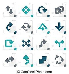 stylisé, différent, flèches, espèce, icônes
