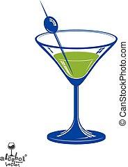 stylisé, illustration., réaliste, objet, thème, salon, verre, –, boisson, artistique, relaxation, olive, baie, 3d, partie., martini, célébration