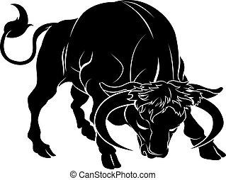 stylisé, illustration, taureau