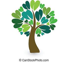 stylisé, logo, arbre, carte identité