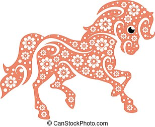 stylisé, poney