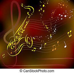 stylisé, résumé, vecteur, saxophone, fond