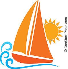 stylisé, (sailboat, symbol), yacht