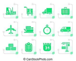stylisé, transport, logistique, expédition, icônes