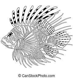stylisé, zentangle, fish