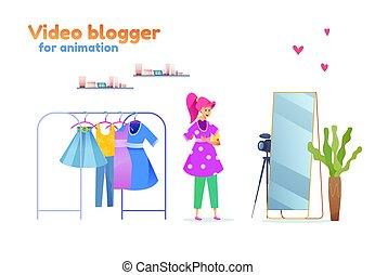styliste, blogger, mode, vecteur, girl, jeune, équipement