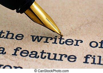 stylo, écrivain, fontaine