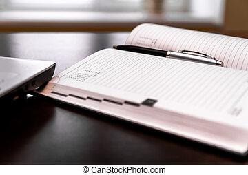 stylo, agenda, desktop.