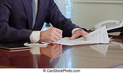 stylo bille, signature, main, fake., papier, signes, pen., document, homme