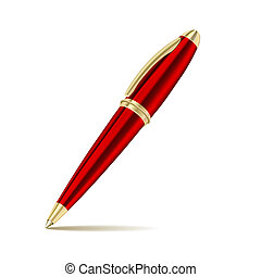stylo, blanc, isolé, fond
