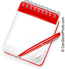 stylo, cahier, spirale