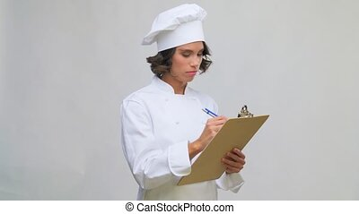 stylo, chef cuistot, femme, écriture, presse-papiers, toque