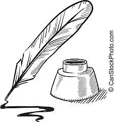 stylo, encrier, croquis, penne
