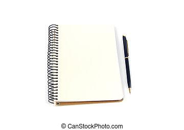 stylo, fond blanc, cahier