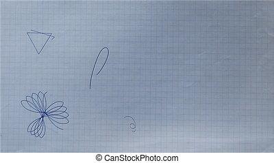 stylo, forme, rosette, stylo bille, dessin