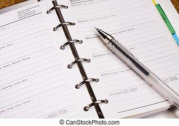 stylo, livre, horaire