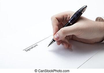 stylo, main homme, signature