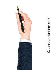 stylo, main, isolé, blanc