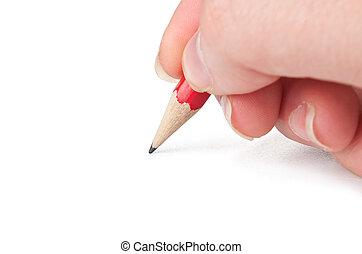 stylo, main, page, écriture