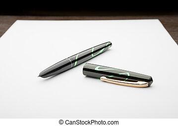 stylo, papier, fontaine, blanc