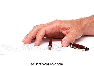stylo, papier, fontaine, main