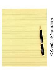 stylo, papier, jaune