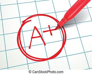 stylo, papier, plus, évalué, rouges