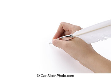 stylo, penne, main