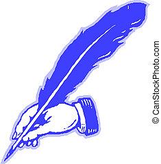 stylo plume, main, dessin